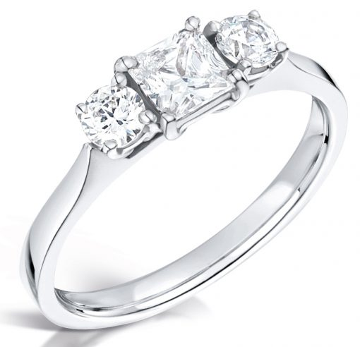 Three Stone Princess and Round Diamond Engagement Ring - Front shot