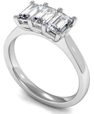 Three Emerald Cut Diamond Engagement Ring