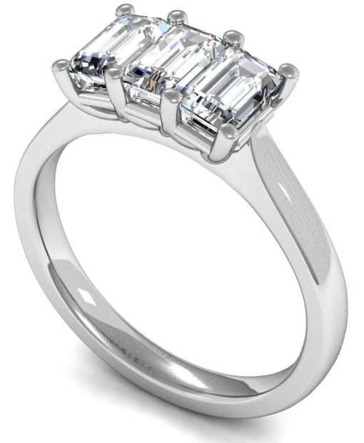 Three Emerald Cut Diamond Engagement Ring