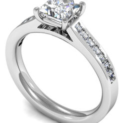 Princess Cut Diamond Solitaire with Channel Cut Diamond Sides