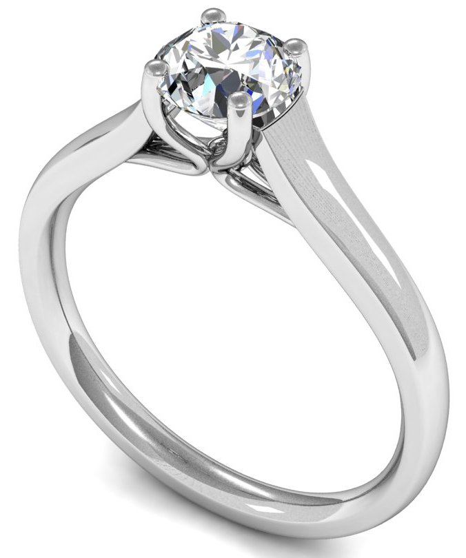 Solitaire engagement ring with round brilliant or princess ...