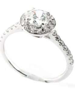 18k White Gold Halo Diamond Engagement Ring