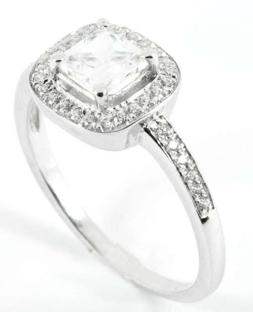 18k White Gold Princess Cut Halo Engagement Ring
