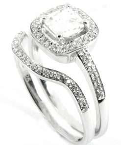 18k White Gold Princess Cut Halo & Shaped Wedding Band Set