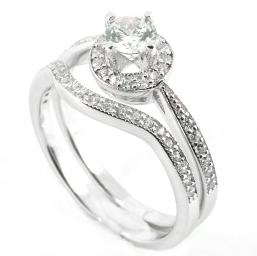 Raised tulip setting Halo engagement ring & wedding band set