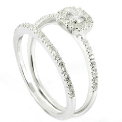 18k White Gold Halo Matching Engagement Ring & Wedding Band Set
