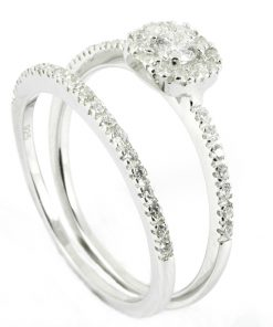 18k White Gold Halo Matching Engagement Ring & Wedding Band Set