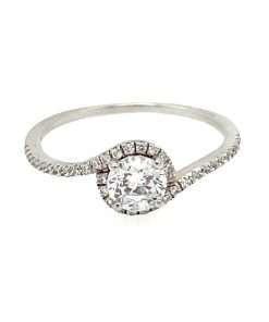 Shaped Diamond Halo Engagement Ring