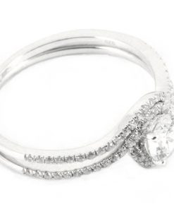 Round Halo Diamond Engagement Ring & Matching Wedding Band