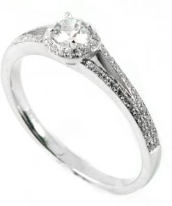 Round Diamond Halo Engagement Ring with Split Diamond Sides