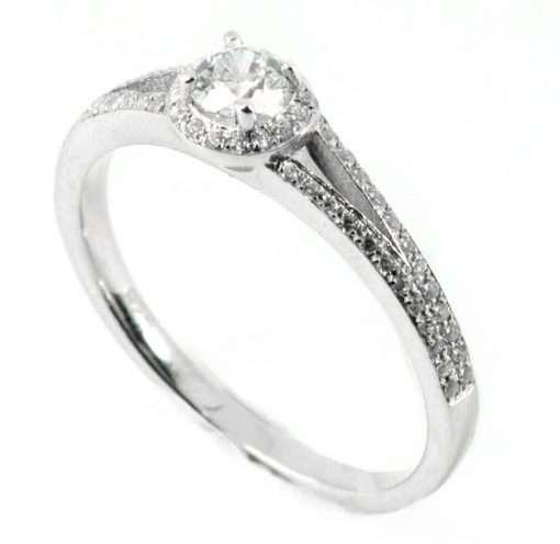 Round Diamond Halo Engagement Ring with Split Diamond Sides