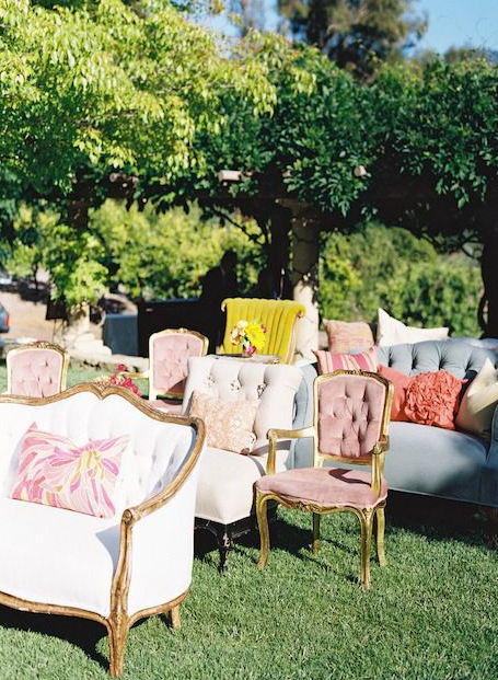 Examples of outdoor seating used in a wedding ceremony
