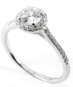 Round Four Claw Halo Engagement Ring with Diamond Shoulders