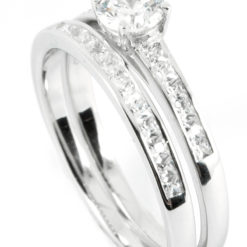 Solitaire Engagement Ring with Side Stones & Half Eternity Wedding Band