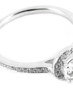 Round Brilliant Pave Halo Engagement Ring with Diamond Shoulders