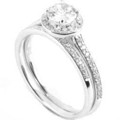 Round Brilliant Pave Halo Engagement Ring with Diamond Shoulders & Matching Half Eternity Ring - Front Shot
