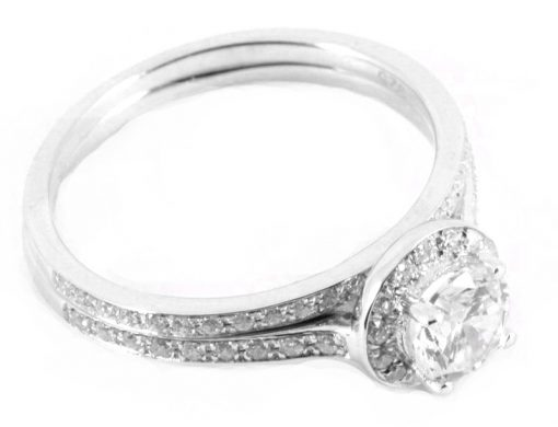 Round Brilliant Pave Halo with Diamond Shoulders & Matching Half Eternity Ring Set