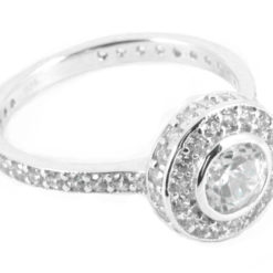 Rub Over Halo Engagement Rings with side diamonds