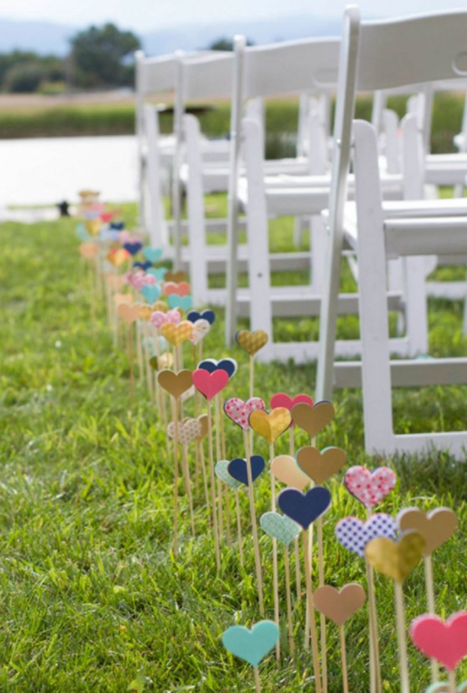 Outdoor Wedding Decoration Idea: Hearts on Sticks
