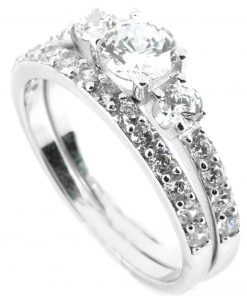 Three Stone Ring with Side Diamonds & Matching Half Eternity Wedding Band