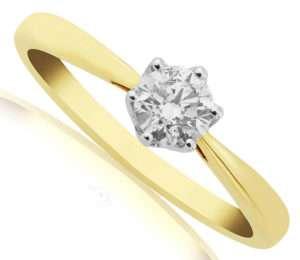 Stunning Yellow gold diamond solitaire engagement ring