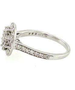 White Gold Cluster Engagement Ring