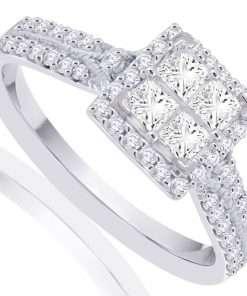Square Diamond Halo Engagement Ring