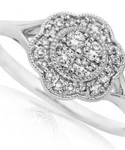 Vintage Style White Gold Engagement Ring