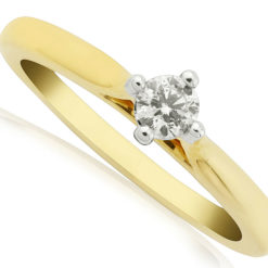Classic Diamond Solitaire on a yellow gold band