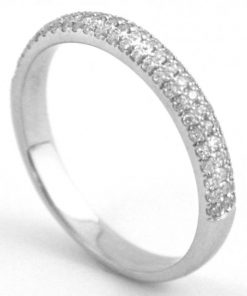 pave diamond half eternity ring