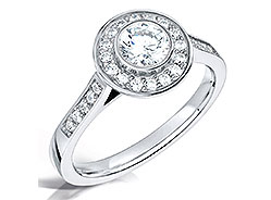 Round Diamond Halo Engagement Ring top down shot