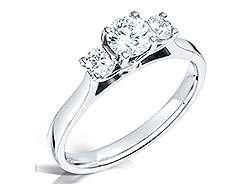 Three Stone Princess and Round Diamond Engagement Ring top down shot