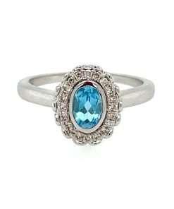 oval blue topaz halo