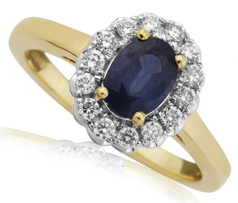 Sapphire Diamond Halo Engagement Ring
