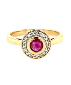 Round Ruby and Diamond Halo Engagement Ring