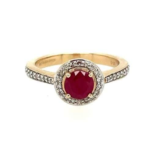 round ruby halo