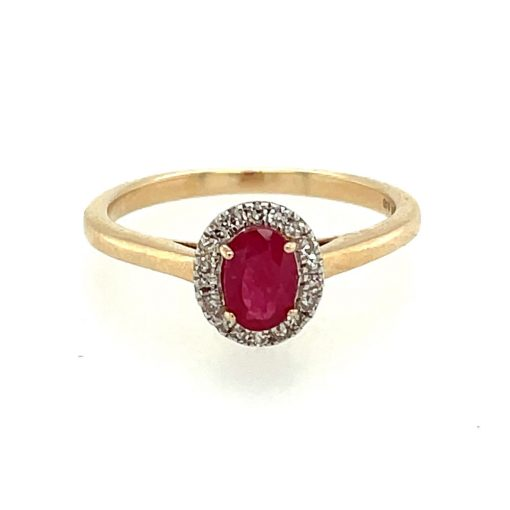 oval ruby halo