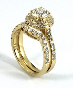 Yellow Gold Halo with Matching Band