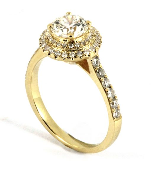 18k Yellow Gold Two Tier Halo Engagement Ring