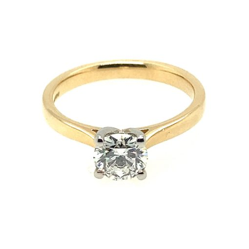 Solitaire Engagement Ring in Yellow Gold & Platinum