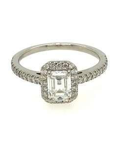 Emerald-Cut Diamond Halo Engagement Ring