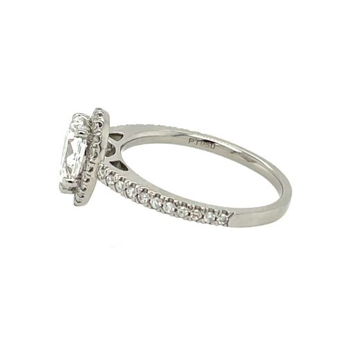 1.2ct Lab Grown Pear Halo with Diamond Band in Platinum
