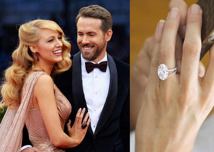 Blake Lively's iconic oval cut engagement ring from Ryan Reynolds